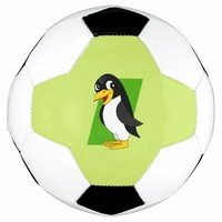 Cute penguin cartoon soccer ball