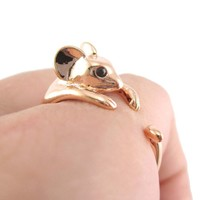 Mouse Shaped Animal Wrap Around Ring in Shiny Copper | US Sizes 4 to 9