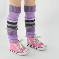 Leg Warmers for Kids in Mauve Sparkle and Stripes - Recycled Sweaters - Eco Friendly