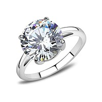 She's The One - A Knockout Stainless Steel Women's Solitaire Ring With A Cubic Zirconia 4.91 CT. Eq. Stone