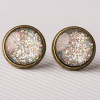 Chunky Holographic Glitter  Glass Earrings