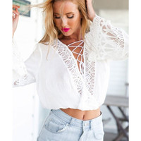 V-neck Crisscross Bell Sleeve Cropped Top with Lace Accent