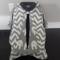 Infant car seat cover, Infant car seat canopy, Baby car seat canopy, car seat cover, Carrier Cover, Infant Carrier, Chevron, Grey, elephants