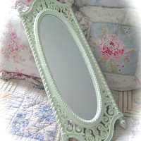 Shabby Long ORNATE Floral Molded Carved CELADON Celery Pale Green Wall MIRROR Distressed Cottage Chic