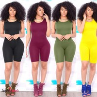 1pcs Sleeveless Bodycon Romper Jumpsuit Short Pants Solid Color Vest