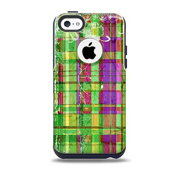 Purple and Green Plad with Floral Pattern Skin for the iPhone 5c OtterBox Commuter Case