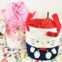 Small Size Kawaii Bowknot Hello Kitty My Melody Barrel Design Canvas Makeup Storage Bag Organizer