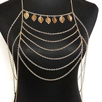 Hypnotique Greek Leaf Gold-tone Body Chain Necklace Jewelry