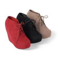 Brinley Co Womens Lace-up Wedge Bootie Red 6.5 M US