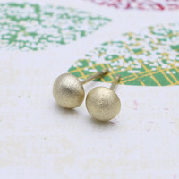 Gold Dome earrings with sterling silver post