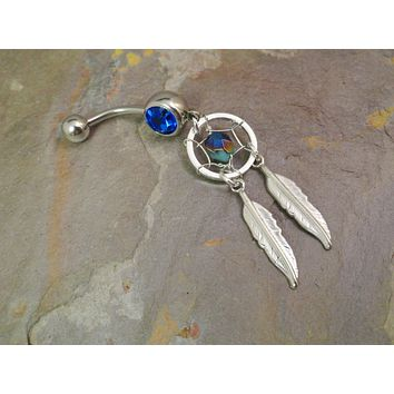 Turquoise and Navy Blue Dream Catcher Belly Button Jewelry