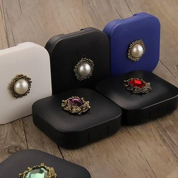 Mini Mirror Contact Lens Travel Kit Lenses Box Holder Plastic Hard Container For Contact Lens Contact Lens Travel Case