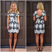 Cameo Embroidered Babydoll Dress - GREY