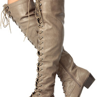Beige Over the Knee Military Lace Up Boot
