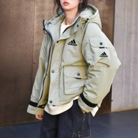 """""""Adidas"""" Women Retro Loose Casual Long Sleeve Tooling Hoodie Cotton-padded Clothes Coat"""