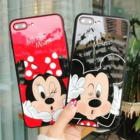 For iPhone X Mickey Minnie Mouse Tempered Anti-scratch Glass PC Case For iPhone 6 6S 7 8 Plus