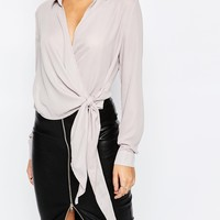 Missguided Wrap Tie Side Shirt at asos.com