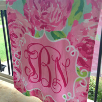 Monogram Beach Towel Flowers Personalized Roses Towel Poly/Cotton 30x60 Pink Gym Towel Pink Rose