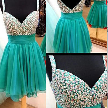 Knee-length Beaded Homecoming Dress