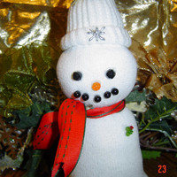White snowman sock red  Children women gift OOAK Handmade Snowman