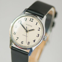 Black white classic men's watch East gents accessory minimalist watch for dude shockproof premium leather strap new