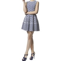 Alexander McQueen Blue Cut Out Flower Jacquard Fit and Flare Dress   Harrods