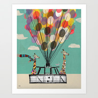Giraffes Days lets go ballooning Art Print by bri.buckley