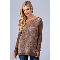 Sparkling Nights Sequined Top - Gold