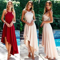 Halter Neck Backless Flared Sundress