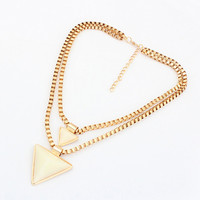 White Triangle Pendant Layered Necklace