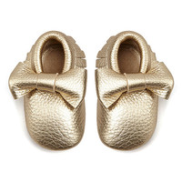 Mothers Love Light Gold Bow Leather Moccasin Booties   zulily