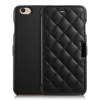 iPhone 6 4.7inch Case, Classic Check Pattern Cover, Micro Fiber Soft Flip Case For iPhone 6 4.7inch (MM508) (Black)
