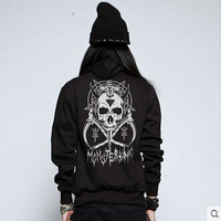 High Quality Harajuku Gothic Skull Print Black Thick Hooded Sweater Coat Teenage Winter Couple Clothes