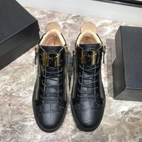 GZ Giuseppe Zanotti Men's Leather Fashion High Top Sneakers Shoes-DCCK