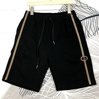 GUCCI Summer New Fashion Embroidery Letter Women Men Shorts Black
