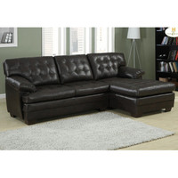 Homelegance Brooks 2 Piece Sectional Sofa in Rich Dark Brown Leather