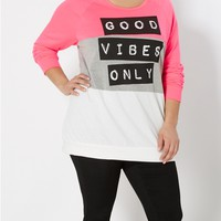 Plus Good Vibes Blocked Sweatshirt