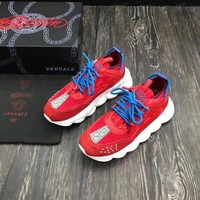 VERSACE Women & Men 2019 Trending red Casual Sneakers Sport Running Shoes Best Quality