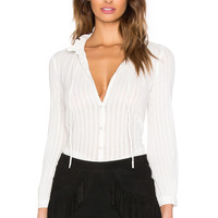 Hoss Intropia Striped Button Up in White