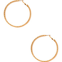 FOREVER 21 Everyday Dimpled Large Hoops Gold One