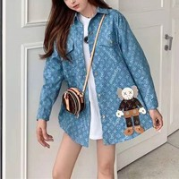 """Louis Vuitton"" Women Retro Fashion Kwas Doll Letter Print Long Sleeve Cardigan Lapel Denim Coat"