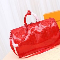 DCCK Gb29816 Lv Louis Vuitton Monogram Travel Keepall Bandouliere 50 Red Soft Travel Bag 50x 29x 23cm