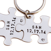 Anniversary Date Keychains | Puzzle Piece Key Chains | Hand Stamped Couples Gift | 2 Keyrings | Anniversary Gift | Boyfriend Girlfriend Gift