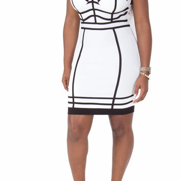 Black and White Bodycon Dress with Piping