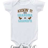 Kickin' It With Grandma and Grandpa Baby Baby Bodysuit  or Toddler Tee