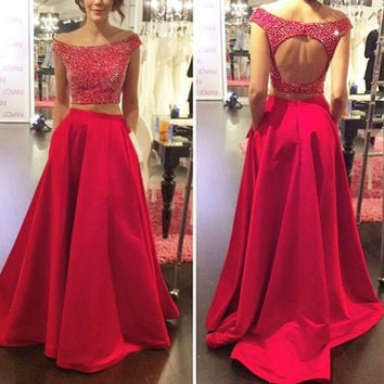 Red Two Piece Prom Dresses,Off Shoulder Prom Dress