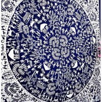 Large Blue Indian Village African Tribal Mandala Wall Tapestry Hanging Dorm Bedding