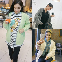 Women Casual Cotton Knit Sweater Long Sleeve Cardigan Jacket Warm Coat Outwear Loose Fit Style 3 Colors = 1667726276