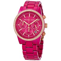 Original Michael Kors Ritz Pave Chronograph Quartz Pink Dial Ladies Watch MK6718