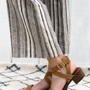 Jordan - Strappy Block Heel Sandals in Tan Color